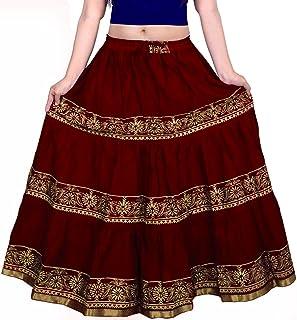 VOXVIDHAM Skirt Women's Cotton Fancy Flower Border Design Block Print (Goldish) Skirts with Elastic & Knote in Free Size