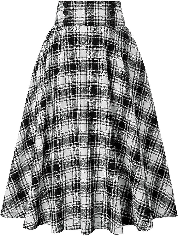 hnmkiu Women Casual Plaid SkirtWith Pockets Vintage High Waist Pleated Skirt
