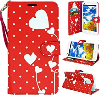 BLU Studio G Plus 5.3 Case, Customerfirst Flip Wallet Pouch, Slim Folio Case with Kickstand, 2 Credit Card Slot Hand Strap - For BLU Studio D510Q **FREE Emoji keychain** (Red Polkadot)