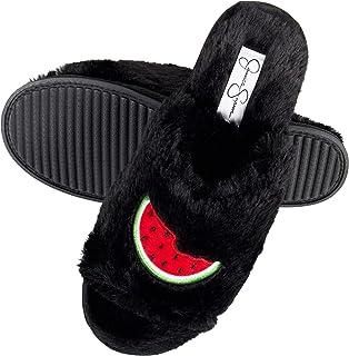 Women's Plush Faux Fur Fuzzy Slide on Open Toe Slipper with Memory Foam