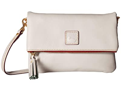 Dooney & Bourke Florentine Classic Fold-Over Zip Crossbody (Ecru/Ecru Trim) Cross Body Handbags