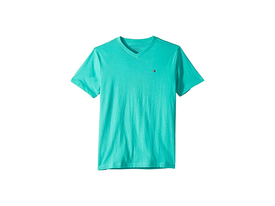 Tommy Hilfiger Kids Tommy Flag V-Neck T-Shirt (Big Kids) (Aqua Green) Boy's T Shirt, Blue