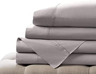 "Elizabeth Arden Light-Weight 100% Long-Staple Cotton Percale 3-Piece Sheet Set - Natural Pure 300 Thread Count – Crisp & Cool – Deep Fitted Pocket Fits Mattress up to 18"" - Twin - Grey"