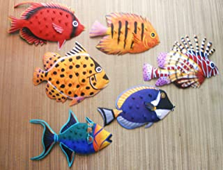 CORAL REEF CREATIONS Hand Painted Metal Art Set of 6 Tropical Fish Wall Hanging