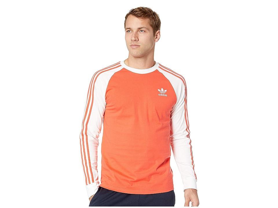 adidas Originals 3-Stripes Long Sleeve Tee (Bright Red) Men