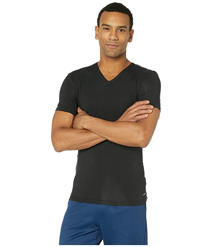 Calvin Klein Underwear  Ultra Soft Modal Short Sleeve V-Neck T-Shirt (Black) Mens T Shirt