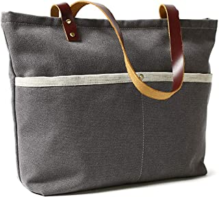ROCKCOW Waxed Canvas with Leather Tote Bag Shoulder Bag Metal zipper Handbag