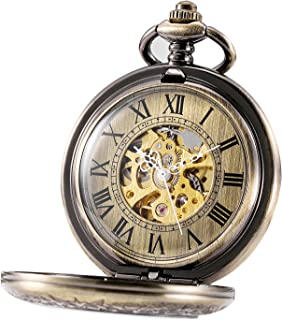Automatic Mechanical Pocket Watch Half Hunter Case Steampunk Skeleton Dial for Men Women