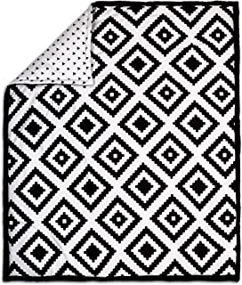 Black Diamond Tile Print 100% Cotton Crib Quilt by The Peanut Shell