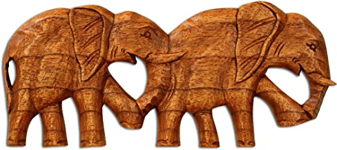 G6 Collection Wooden Elephant Wall Decor Plaque Hanging Art Sculpture Hand Carved Decorative Accent Handcrafted Rustic Handmade Wood Home Decoration