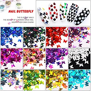 Minejin Nail Art Glitter Sequins Butterfly Shinning Acrylic 3D Flakies Stickers Tips Decoration 12 Col