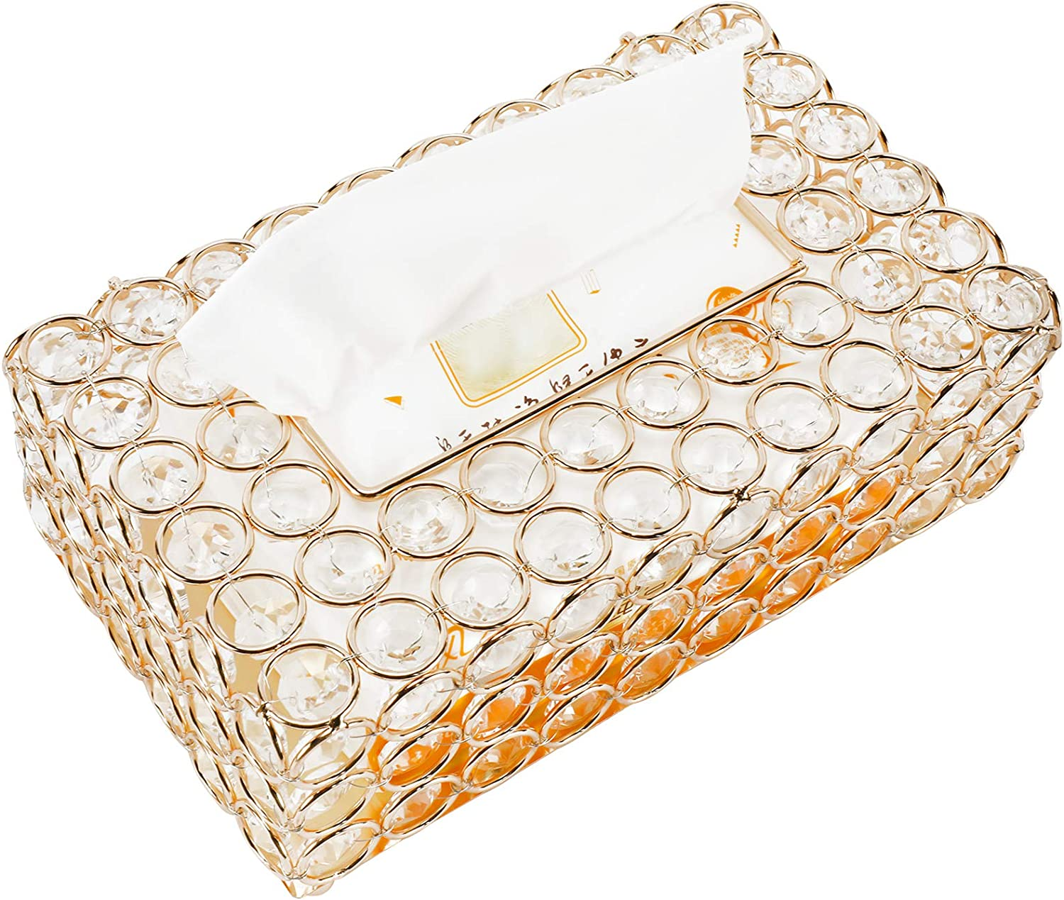 HighFree Rectangular Crystal Tissue Box Max 40% OFF Napkin Decor Cheap mail order specialty store Case Steel