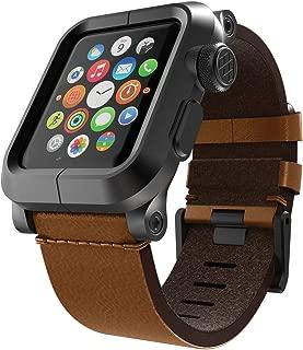 LUNATIK EPIK Aluminum Case and Leather Strap for Apple Watch Series 1, Black/Brown
