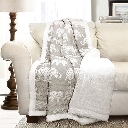 "Lush Decor Elephant Parade Throw Fuzzy Reversible Sherpa Blanket, 60"" x 50"", Gray"