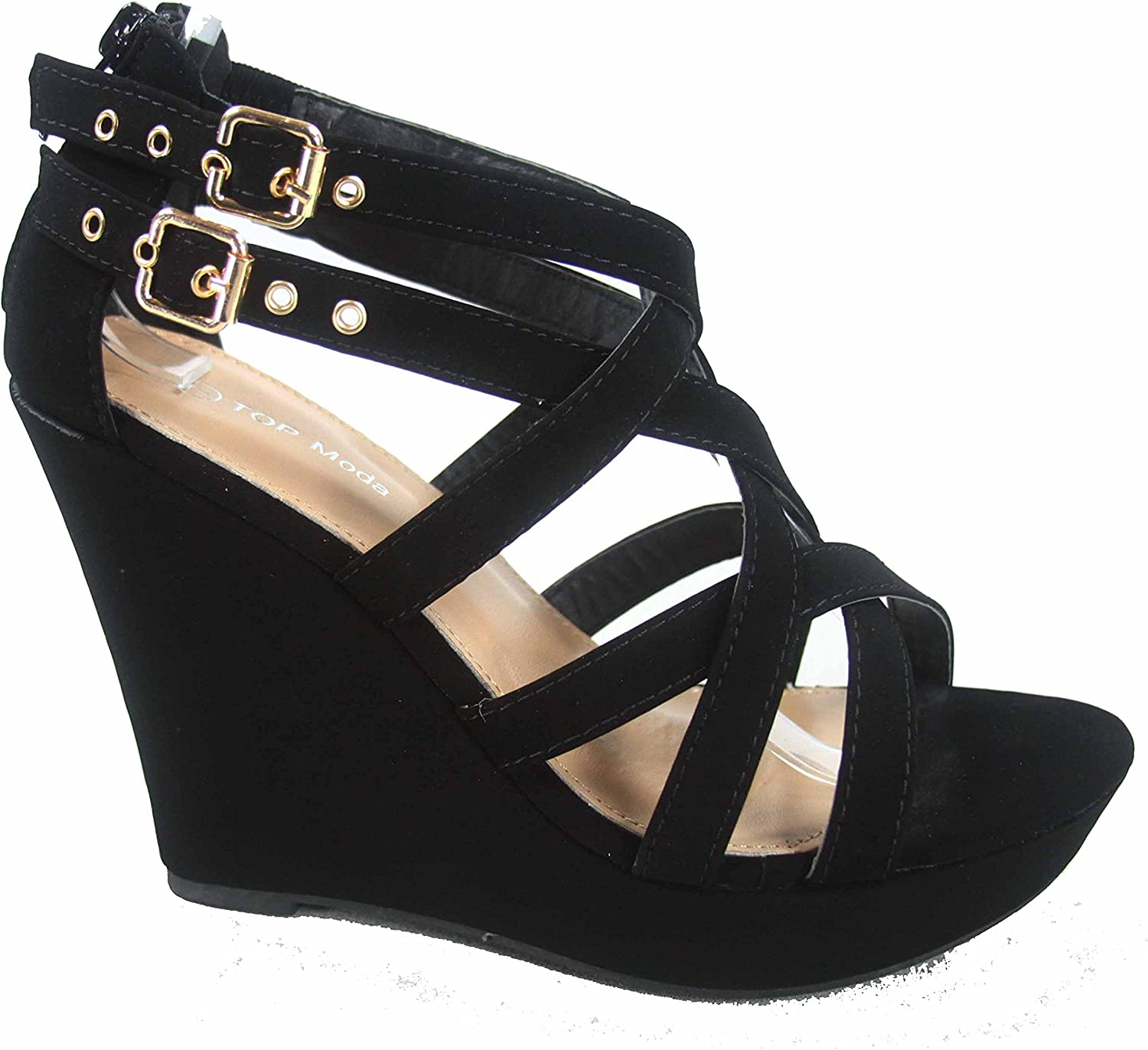 Top Moda Jessie-1 Women's Fashion Strappy Double Buckles High Wedge Heel Sandal shoes