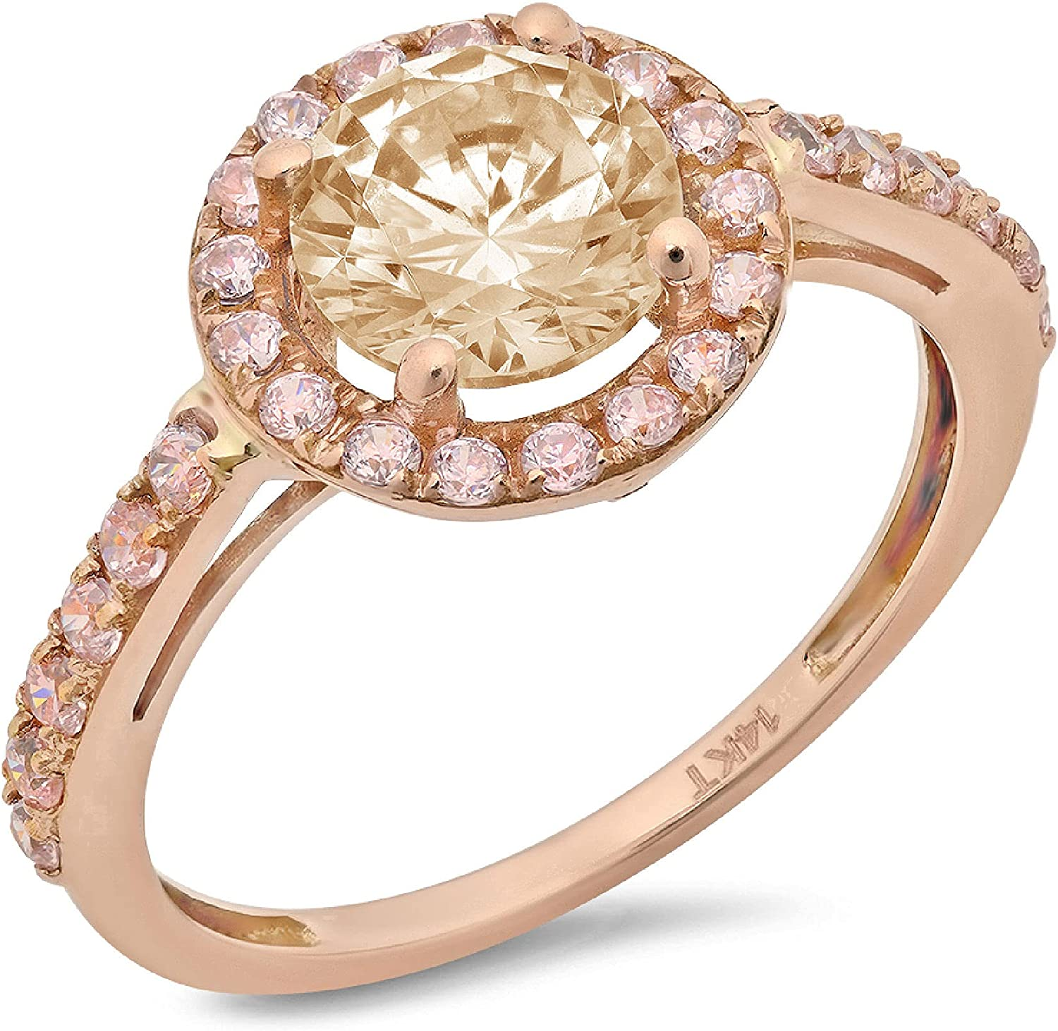 2.45 ct Brilliant Round Cut Solitaire accent Halo Stunning Genuine VVS1 Simulated Yellow Moissanite Modern Promise Statement Designer Ring 18K Rose Gold