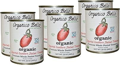 Organico Bello - Organic Southern Italian Whole Peeled Tomatoes - 28oz (Pack of 6) - Non GMO, Whole 30 Approved, Gluten Free, BPA Free