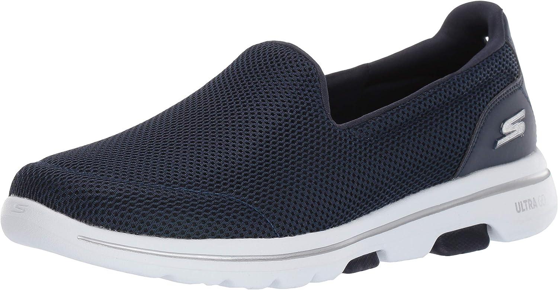 Skechers Women's GO Walk 5 shoes, Navy White, 6.5 Regular US