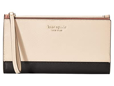 Kate Spade New York Spencer Continental Wristlet (Warm Beige/Black) Handbags