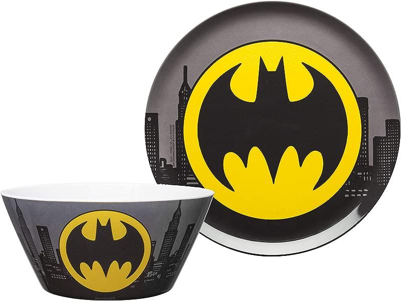 Zak Designs DC Comics Batman Kids Dinnerware Set Including 10 Melamine Plate And 27 Ounce Bowl Set Durable And Break Resistant Plate And Bowl Makes Mealtime Fun Melamine