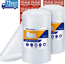 """Metronic 3/16"""" Small Bubble Roll- Perforated 12""""×12"""", 2 Rolls 72 Ft Air Bubble Cushioning Roll, Included 20 Fragile Sticker Labels for Packing Moving Shipping Boxes Supplies"""