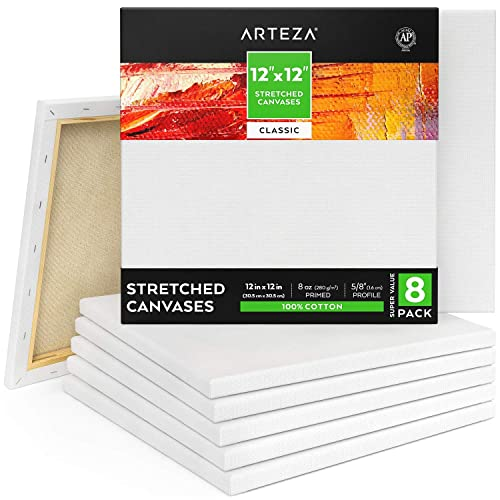 for Painting Bulk Hobby Painters /& Beginner Oil Paint /& Wet Art Media Primed 100/% Cotton Pack of 12 Acrylic Pouring Arteza 8x8 Stretched White Blank Canvas Canvases for Professional Artist