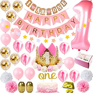 1st Birthday Girl Decorations | Girls First Decor Party Supplies Set | Princess Pink n Gold Theme Kit | Happy Birthday Banner, 1 Year Tiara Crown Hat One Cake Topper, Number, Marble, Confetti Balloons