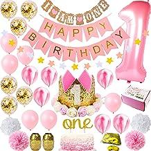 1st Birthday Girl Decorations Premium Party Supplies | Baby Princess First Pink Gold Girls Theme Kit | 1 Year Tiara Crown ...