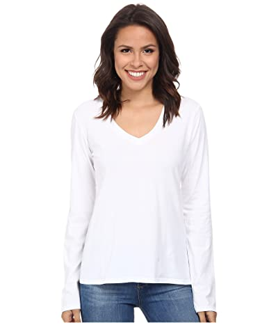 Mod-o-doc Supreme Jersey Fitted L/S V-Neck (White) Women
