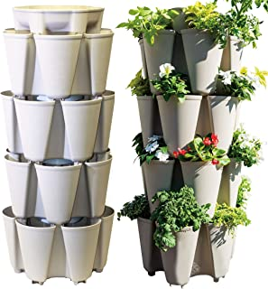 GreenStalk Huge 4 Tier Vertical Planter – for Urban and Small Space Gardening (Stunning Stone)