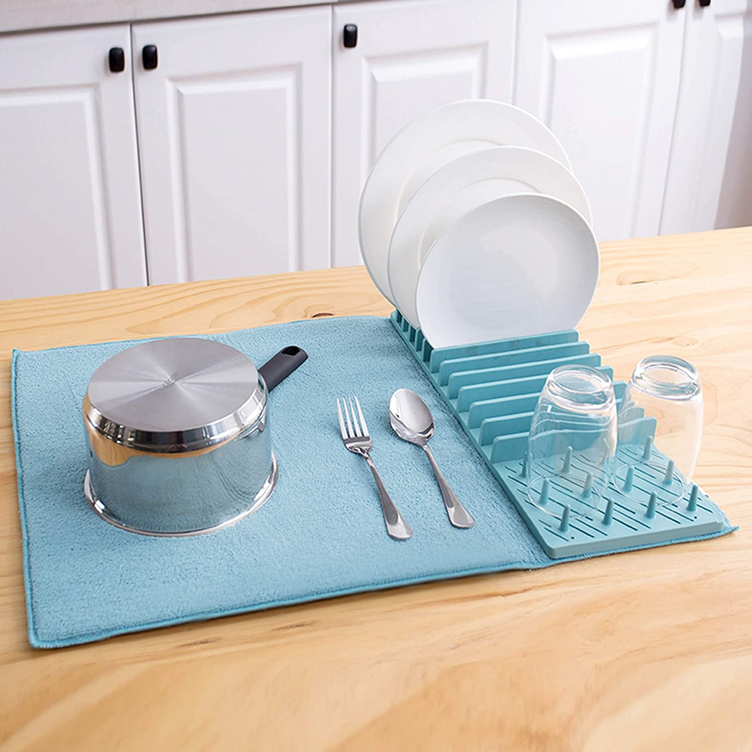 Popular Home 888218 Dish Drying Rack with mat, 15