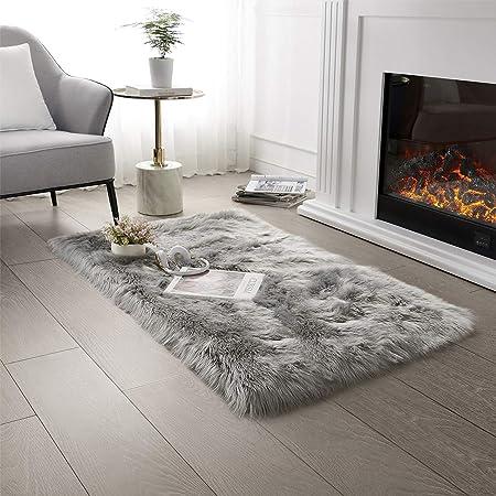 Ultra Soft Faux Fur Area Rug Grey Fluffy Rug Plush Chair Cover Seat Pad Fuzzy Carpet Furry Besides Rug for Bedroom Floor Sofa Living Room 2x4 Feet SERISSA (Rectangular, Light Grey)
