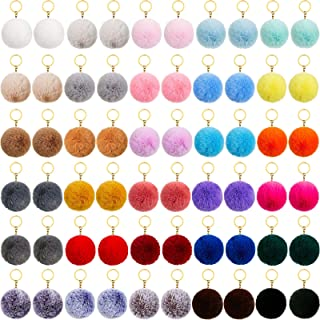 60 Pieces Colorful Pom Poms Keychains Fluffy Ball Pompoms Key Chain Faux Fur Pompoms Keyring for Girls Women Hats Shoes Ba...
