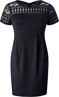 f486c490954 Chicwe Women s Plus Size Dots Lace Stretch Dress- Casual Work Dress with  Pockets