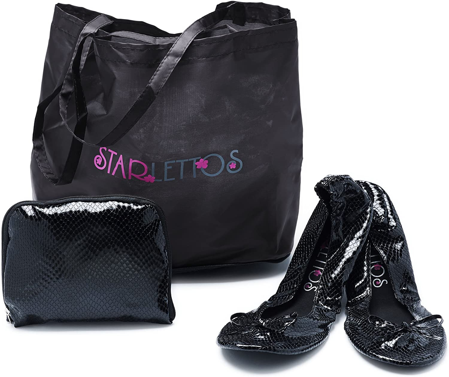 Foldable Ballet Flats - Cinderella Crystal Slippers to Carry You and Your High Heels Home Safely - Includes Ingenious Carry Pouch That Opens Into a shoes Carrier, See color Options
