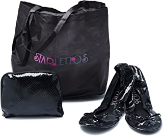 FOLDABLE BALLET FLATS - Cinderella Crystal Slippers to Carry You and Your High Heels Home Safely - INCLUDES Ingenious Carry Pouch That Opens Into a Shoe Carrier (All Sizes, See Color Options)