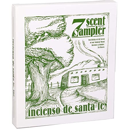 Incienso de Santa Fe - 7 Scent Sampler Natural Wood Incense with Burner, Includes Piñon, Cedar, Juniper, Hickory, Alder, Mesquite and Fir Balsam (70 Bricks)