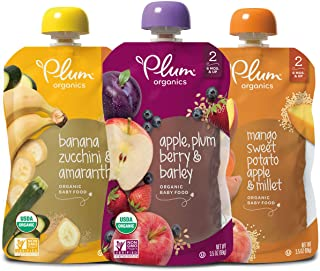 Plum Organics Stage 2, Organic Baby Food, Fruit, Veggie and Grain Variety Pack, 3.5 Pouches (Pack of 18) Veggie & Grain Variety Pack, 63 Ounce
