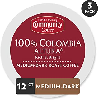 Community Coffee Colombia Altura Medium Dark Roast Single Serve, 36 Ct Box, Compatible with Keurig 2.0 K Cup Brewers, Medium Full Body Rich Bright Taste, 100% Arabica Coffee Beans