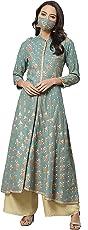 Yash Gallery Women's Rayon Floral Printed Anarkali Kurta Green…