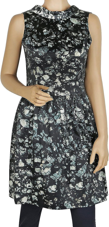 Badgley Mischka Green Floral Open Back Skirted Sleeveless Dress