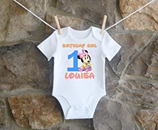ae0ba0506 Baby Minnie Mouse 1st And 2nd Birthday Shirt For Girls, Baby Minnie Mouse  1st Birthday