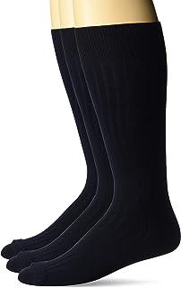 Marca Amazon - Calcetines de vestir para hombre con botones de plumón, 3 unidades, acanalados, sedosos y suaves.