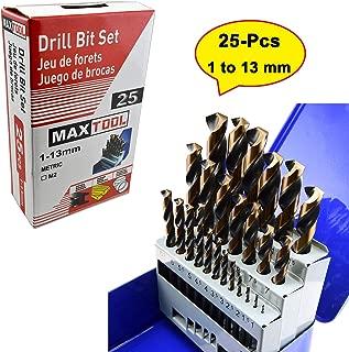 MaxTool 25 Pieces Twist Drill Bit Set; Jobber Length High Speed Steel M2 135 Deg Split Point Fully Ground 1mm - 13mm X 0.5mm; BS02H10R025P