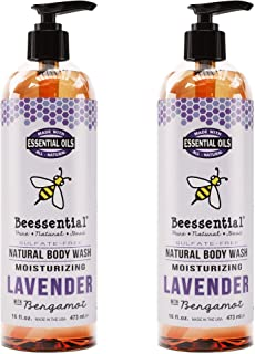 Beessential Natural Body Wash, Lavender, Sulfate-Free Bath and Shower Gel with Essential Oils for Men & Women, 2 Pack 16 oz