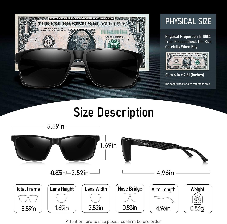 Bircen Mens Sunglasses Polarized UV Protection, Sport Carbon Fiber Temple Sunglasses for Men