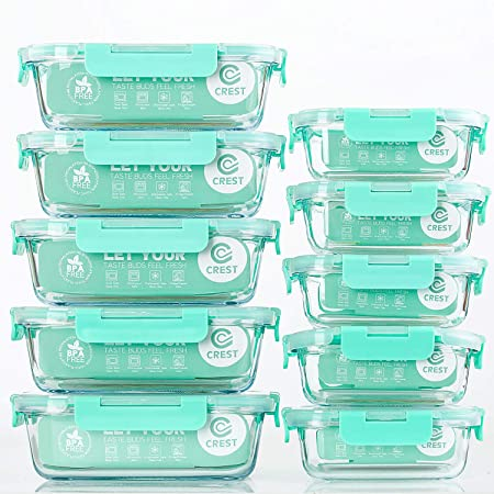 5-Teiliges of 1040 ml Lunchboxen Rechteckig Glas-Frischhaltedosen Vorratsbeh/älter mit Deckel Luftdicht