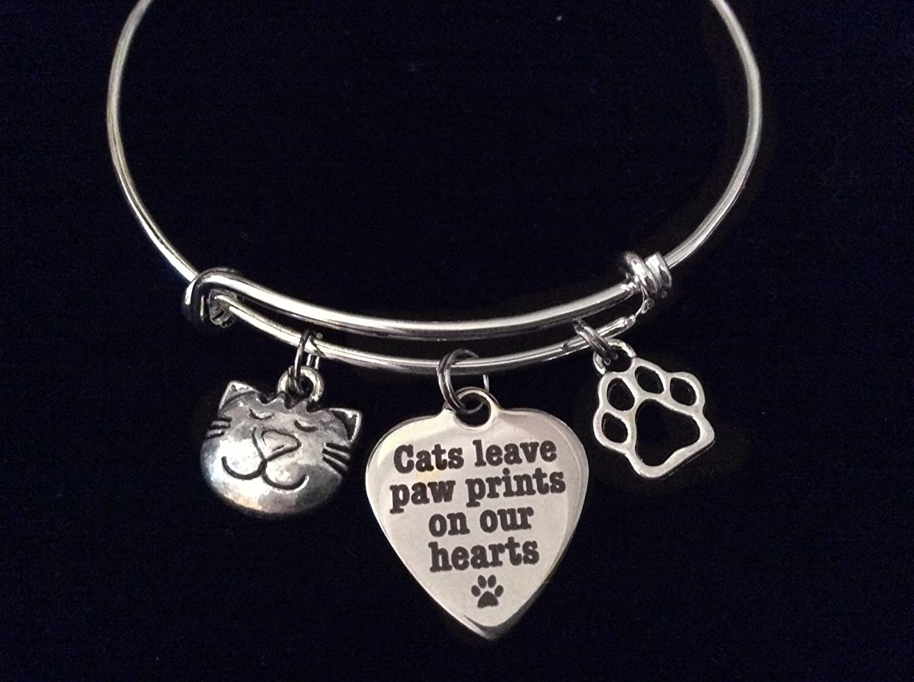 Cats Leave Paw Prints on our Heart Charm on a Silver Expandable Adjustable Wire Bangle