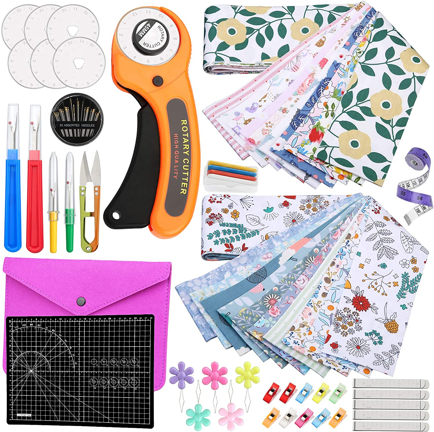 Rotary Cutter Set with 20 Cu PCS Bundles Fabric Quilting Sales for sale half
