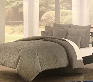 Tahari Home 5 Piece Queen Comforter Set - Soft & Luxurious Quilted Velvet Floral Medallion Pattern in Charcoal Grey